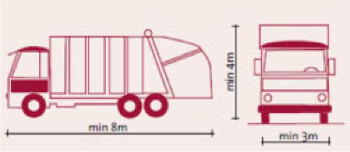 Renovasjonsbil med minimums lengde, bredde og høyde.