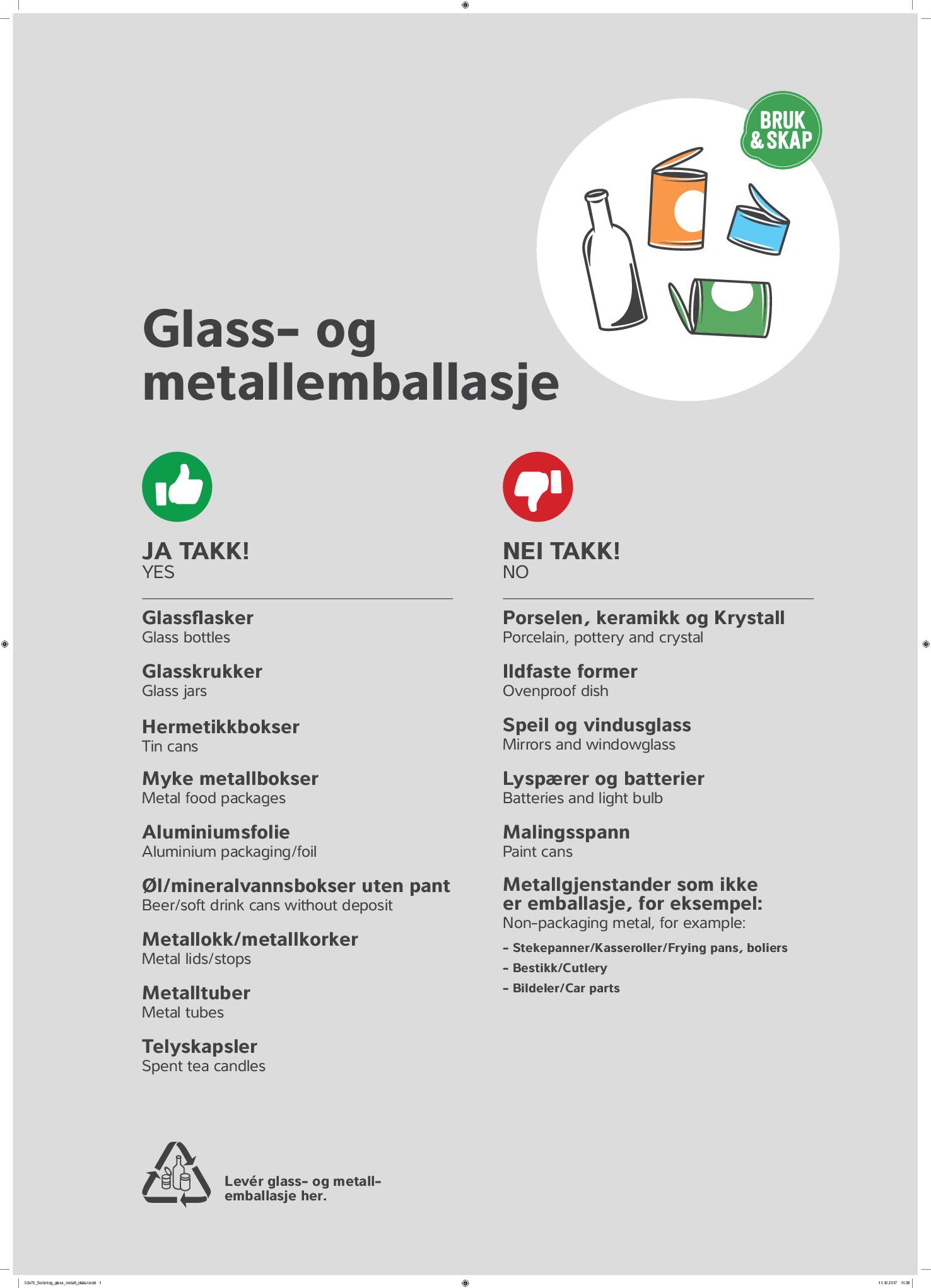 plakat som viser hva som skal leveres i glass- og metallemballasjecontainerne