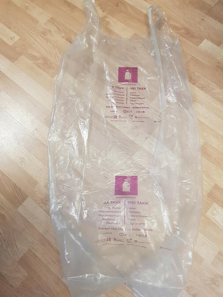 Ny sekk for plastemballasje med ny merking