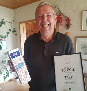 Arve Haugen vant 10 000 i frikkekartonglotteriet